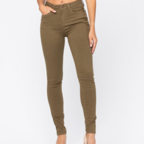 Judy Blue High Waisted Olive Colored Skinny Jeans