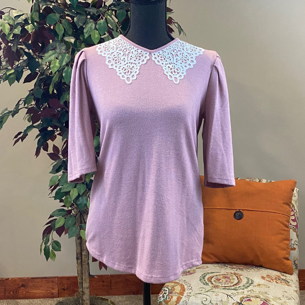 Floral Contrast Waffle Knit Top