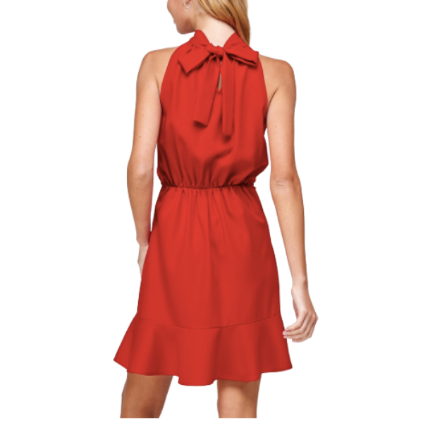 Halter Dress with Back Neck Tie