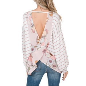 Floral Crossed Open Back Top