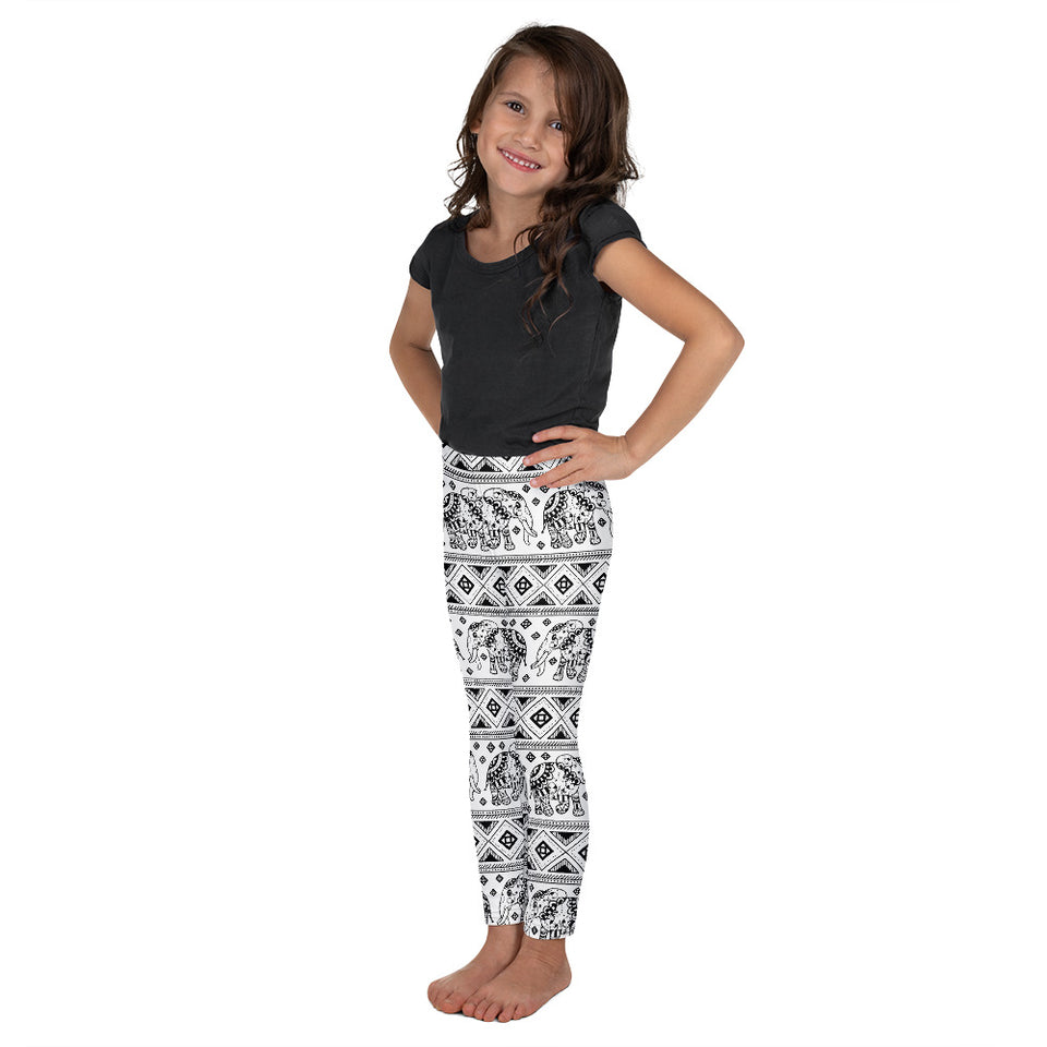 Black&White Elephant - Kid's Leggings