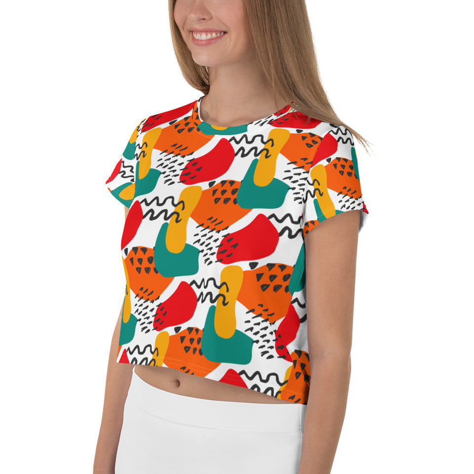 Abstract Art All-Over Print Crop Tee