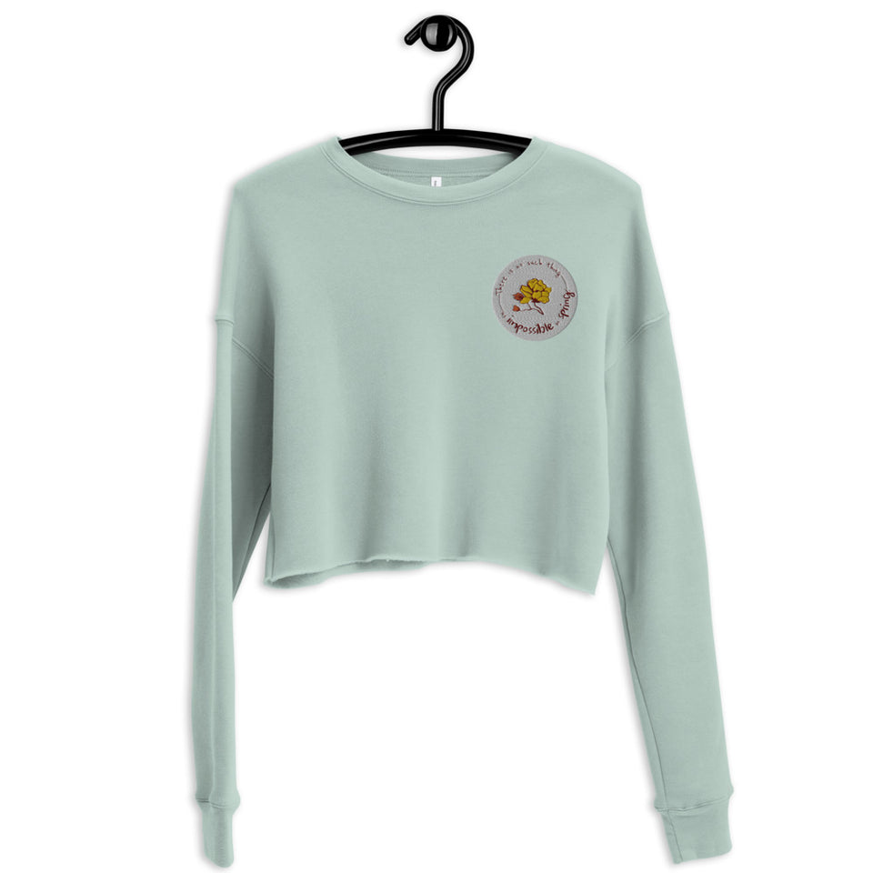 Rose Embroidery Crop Sweatshirt