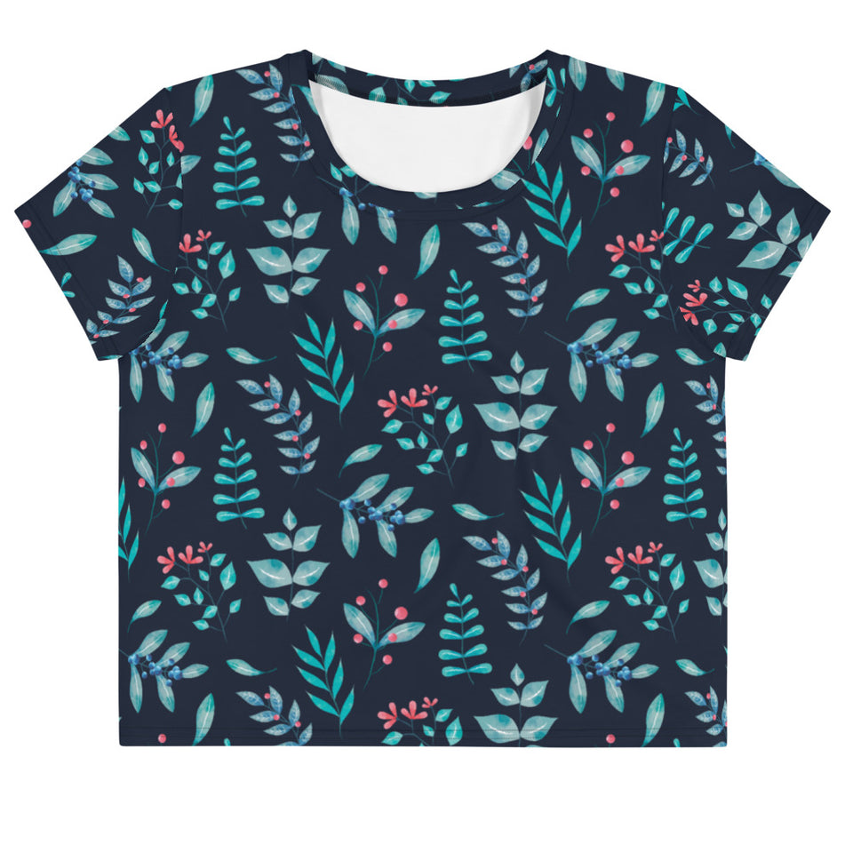 Plants Floral All-Over Print Crop Tee