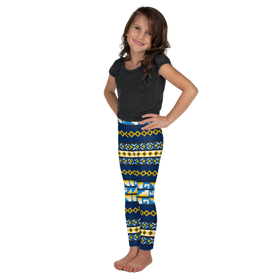 Folk Style - Blue&Yellow Kid's Leggings