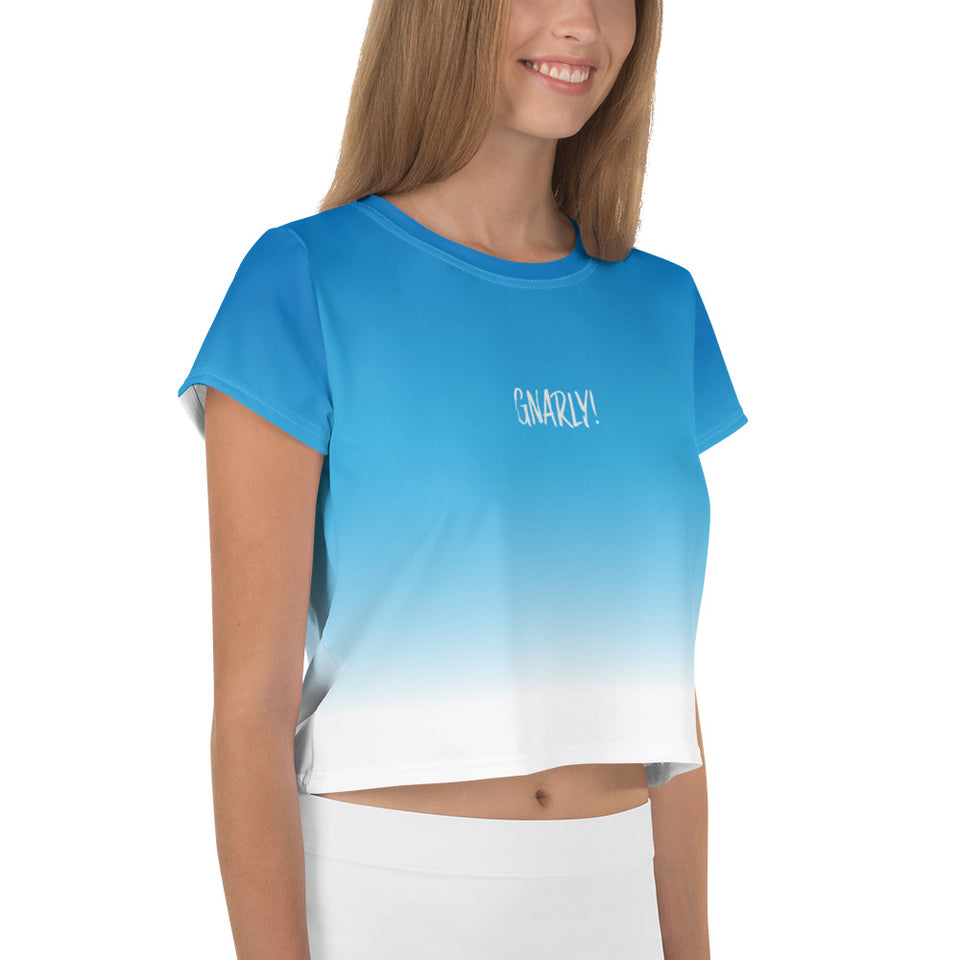 Gradient Blue Crop Top Tee