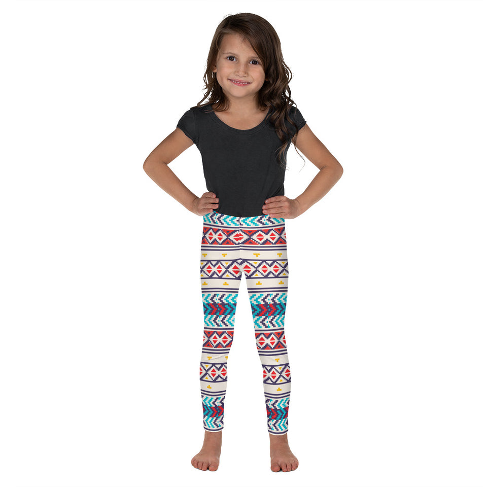 Folk Style - Blue & Red Kid's Leggings