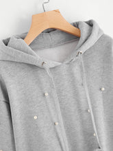 Load image into Gallery viewer, Pearl Beaded Drawstring Hoodie