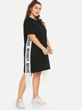 Load image into Gallery viewer, Slogan Print Tape Panel Dress