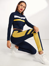 Load image into Gallery viewer, Zip Front Striped Sweatshirt & Pants Set