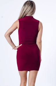 Front Zipper Mini Dress