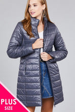 Load image into Gallery viewer, Curve Long sleeve quilted long padding jacket