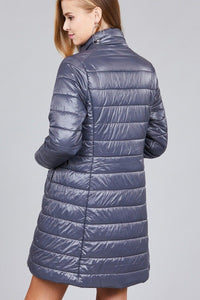 Curve Long sleeve quilted long padding jacket