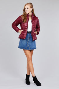 Curve long sleeve quilted padding jacket
