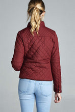 Load image into Gallery viewer, Curve Quilted Padding Jacket With Suede Piping Details