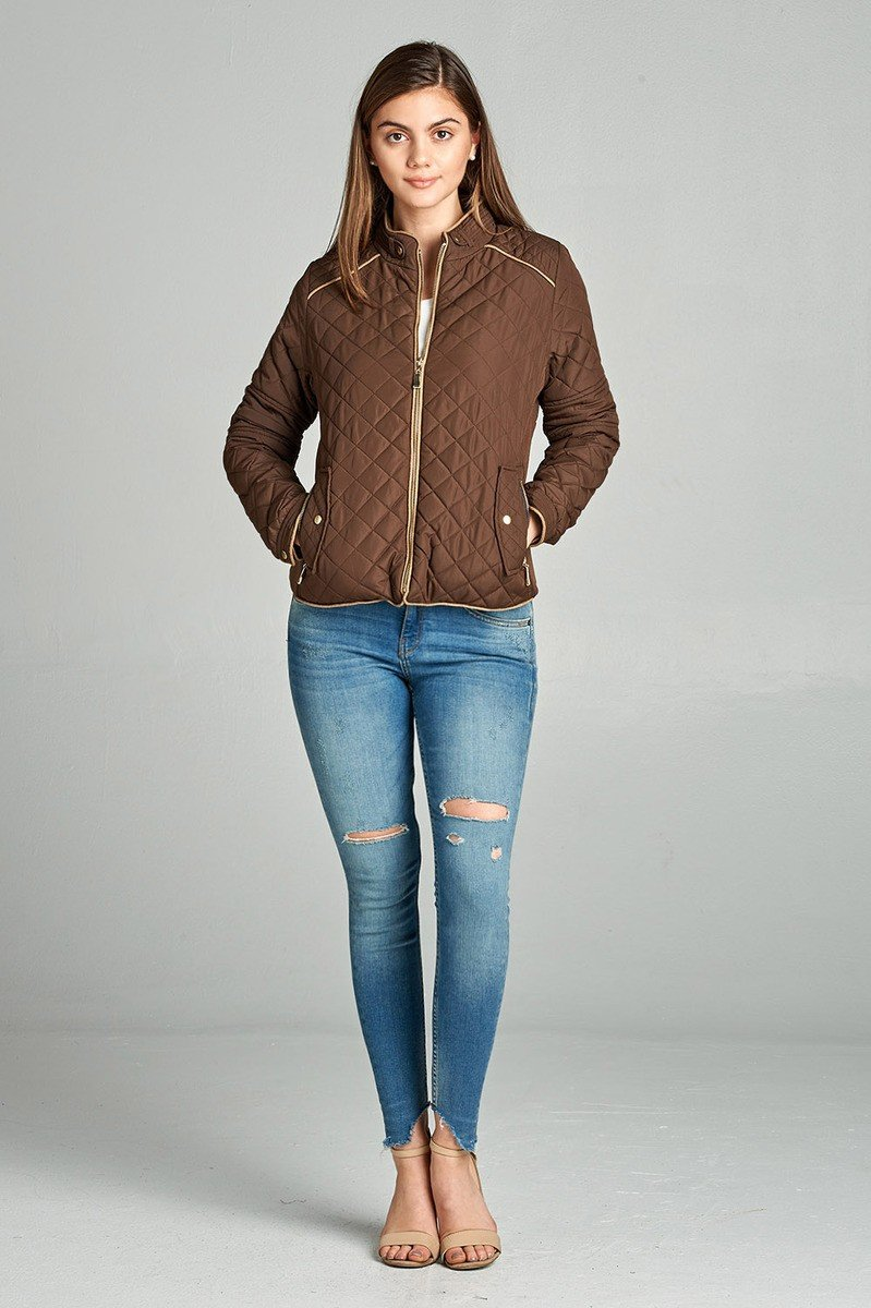 Curve Quilted Padding Jacket With Suede Piping Details