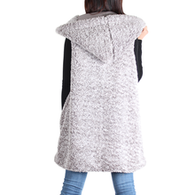Load image into Gallery viewer, Charcoal Sherpa Open Front Hooded Sleeveless Vest