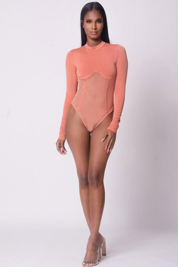Mock Neck Mesh Detail Bodysuit