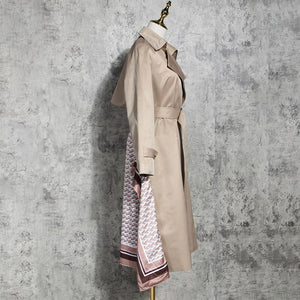 Patchwork Ruched Trench Coat