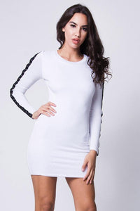 Button Detail Ribbed Mini Dress