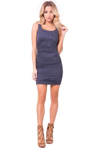 Ruched Solid Suede Dress