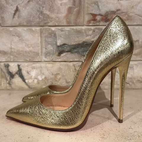 12cm Heels Women Pumps Shoes Pointed Toe Gold Thin High Heels Sexy Wedding Party Official Shoes Woman Big Size 45