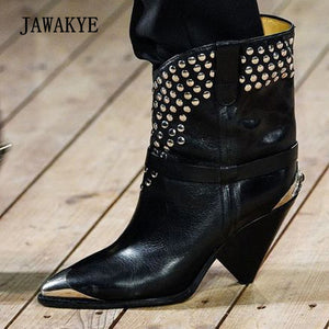 2017 Chic Cow Leather Ankle Boots Women Metal Pointed Toe Rivet Tassel Strange High Heel Boots Woman Fashion Martin Boots