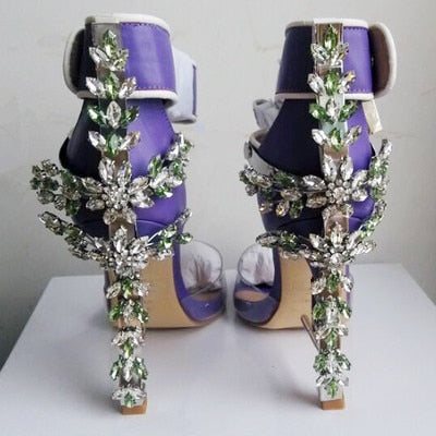 2017 New Arrival Abnormal Jeweled heels Rhinestone Crystal Embellished High Heel Sandals Ankle Strap Lock Summer Party Shoes