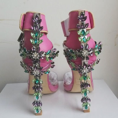 Image of 2017 New Arrival Abnormal Jeweled heels Rhinestone Crystal Embellished High Heel Sandals Ankle Strap Lock Summer Party Shoes