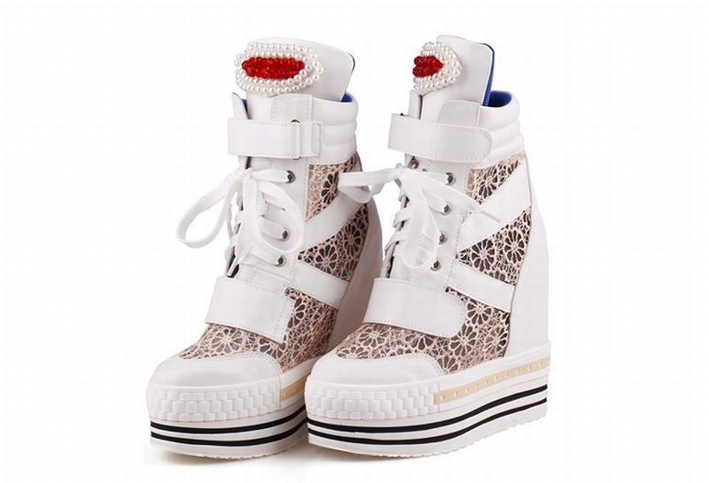 73665519a462 ... women Lace mesh lace up high top summer breathable casual shoes pearl  platform. Hover to zoom
