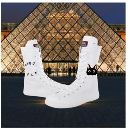 2018 Autumn Woman Shoes Canvas Boots Sneakers High Top Vulcanize Shoes Female Tube   Casual Female Shoes Sneakres Plus Size 43