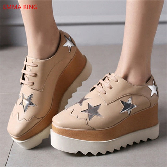2018 Hot Stars Loafer Shoes Women Square Toe lace-up Thick Bottom Platform  Wedge Shoes For Women Causal Rihanna Creepers Shoes