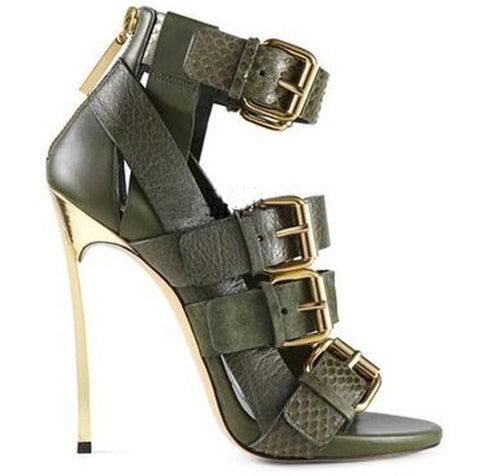 2018 New Mujer Summer High Heels Sandals Women Buckle Strap Peep Toe Pumps Thin Heels Shoes Ankle Strap Shoes Women
