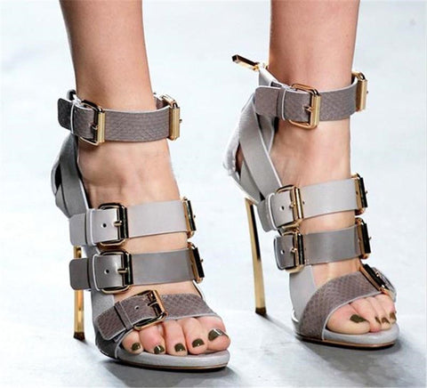 Image of 2018 New Mujer Summer High Heels Sandals Women Buckle Strap Peep Toe Pumps Thin Heels Shoes Ankle Strap Shoes Women