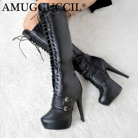2018 New Plus Big Size 34-52 Black Buckle Zip Lace Up Knee High Heel 14.5CM Platform Autumn Girl Lady Females Womens Boots X1731