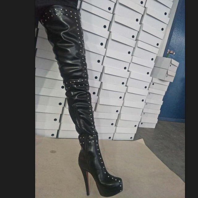 2a803569ca011 ... Big Size 34-52 Black Zip Rivets Sexy Thigh High Heel Over. Click to  expand