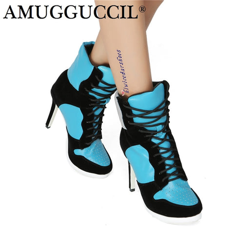2018 New Plus Big Size 36-47 Blue Black Lace Up Fashion Sexy High Heel Platform Females Girl Ladies Autumn Women Boots XX177