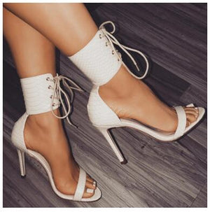 2018 Summer New Women Sandals Sandale Sexy Snakeskin High Heels 11.5CM Sandals Women Ankle Strap Thin Heel Female Party Shoes