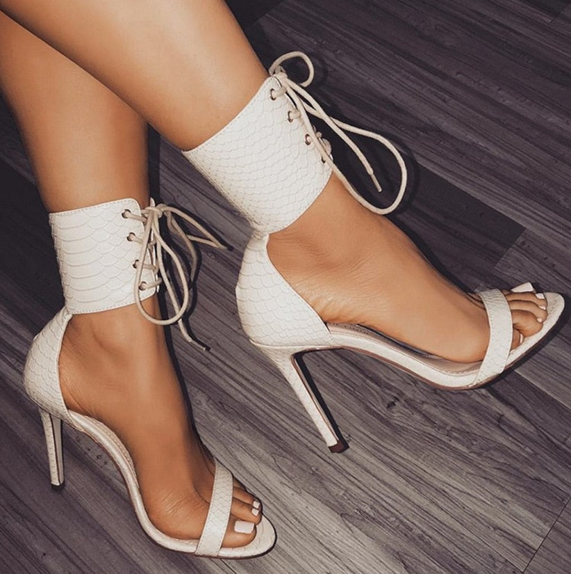 2c94650f4fe 2018 Summer New Women Sandals Sandale Sexy Snakeskin High Heels 11.5CM  Sandals Women Ankle Strap Thin Heel Female Party Shoes