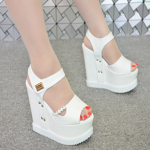 2018 new women's sandals 15cm thick bottom wedge sandals muffin bottom super high heel fish sandals