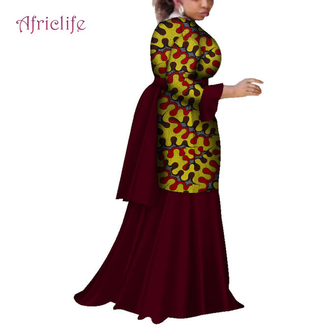 56e31bf18ee 2019 African Dresses for Women Fashion Ankara Women Flare Sleeve ...
