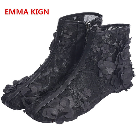 Image of 2019 Black Lace Hollow Women Sexy Flat Heels Ankle Boots Autumn Spring Fashion Square Toe Side Zipper Flower Design Ladies Shoes
