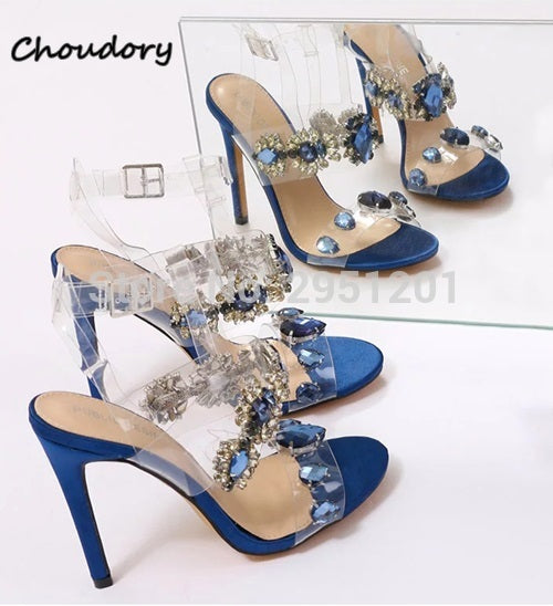 141f113dbf9 2019 Fashion Women Crystal Sandals Ankle Strap 10cm High Heels Bling  Glitter PVC Transparent Sandals Wedding Shoes for Women