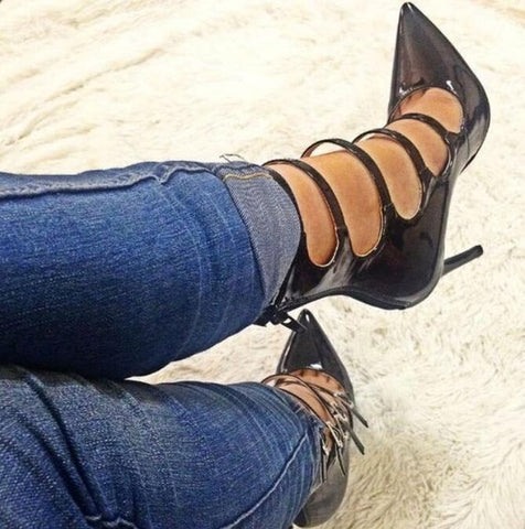2019 Hottest Women Pumps Sexy Pointed Toe And Thin High Heel Narrow Band Buckle Strap Summer Sample Women Shoes
