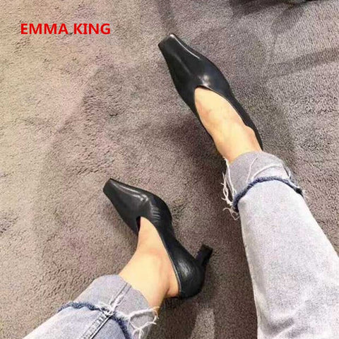 2019 Leather Square Toe Fashion Women Pumps Shallow Slip-On Style Roman Femme Shoes Autumn Spring Chunky High Heels Sexy Pumps