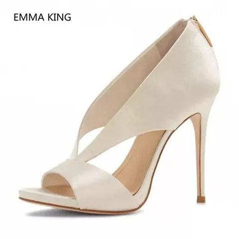 2019 New Arrival Women Sexy Pump Peep Toe Deep V Design Runway Shoes Woman Black White High Heel Shallow Female Party Dress Shoe