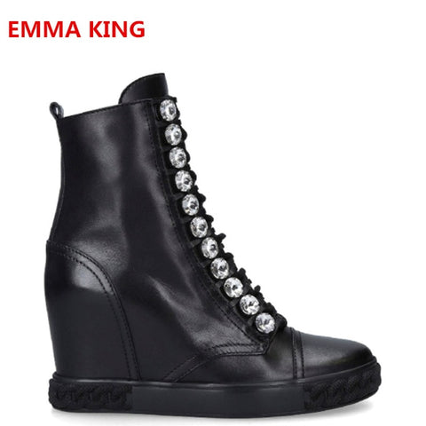 2019 New Arrival Women Winter Increase Genuine Leather Ankle Boots Rhinestones Design Round Toe Side Zip Fashion Wedges Booties