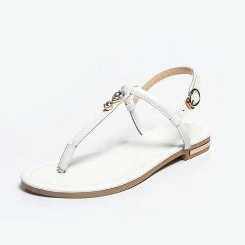 Image of 2018 New Genuine Leather Plus Big Size 31-46 Blue White Gold Buckle Fashion Girls Ladies Summer Women Flats T-Strap Sandals L958