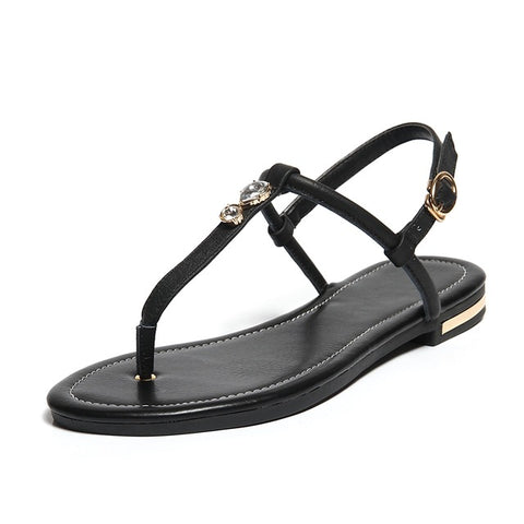 2018 New Genuine Leather Plus Big Size 31-46 Blue White Gold Buckle Fashion Girls Ladies Summer Women Flats T-Strap Sandals L958