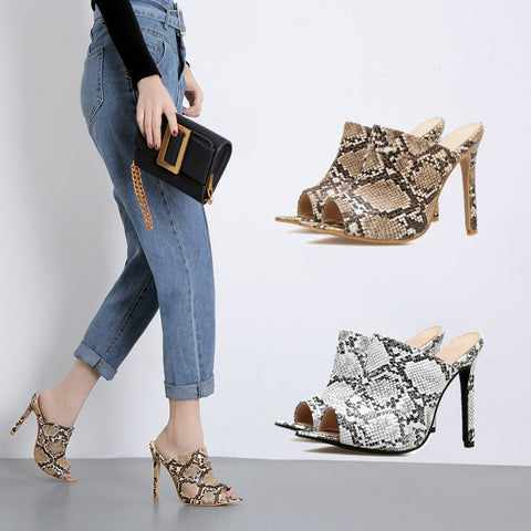 2019 New Summer Style Women Slippers Snakeskin Thin High Heels 12CM Mules Pointed Toe Sexy Female Slides Female Outdoor Slippers